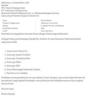 Contoh surat lamaran kerja di Indomaret sebagai Pramuniaga