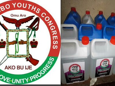 Aro Oke-igbo Youth Congress Donates sanitizers to ndi Aro
