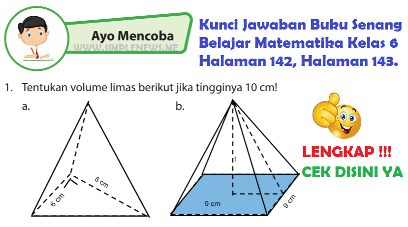 Lengkap Kunci Jawaban Halaman 142 143 Buku Senang Belajar Matematika Kelas 6 Kunci Jawaban Lengkap Terbaru Simplenews