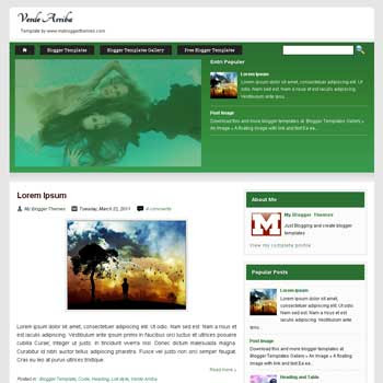 Verde Arriba blogger template with 3 column footer blogger template. 3 column footer blogspot template
