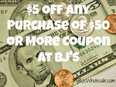 RARE $5 Off Any Purchase of $50 or More BJs Coupon