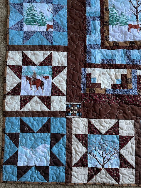 Closeup of Variable Star Blocks in lower left corner of quilt