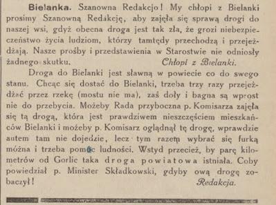 Bielanka 1927 droga