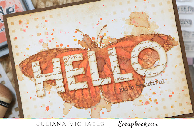 Hello Beautiful Card by Juliana Michaels featuring Scrapbook.com and Tim Holtz products