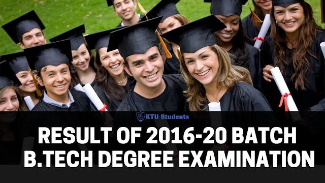 ktu result 2020 s8 2016-20 batch engineering degree