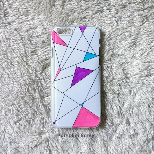 DIY geometric phone case with lines and colors