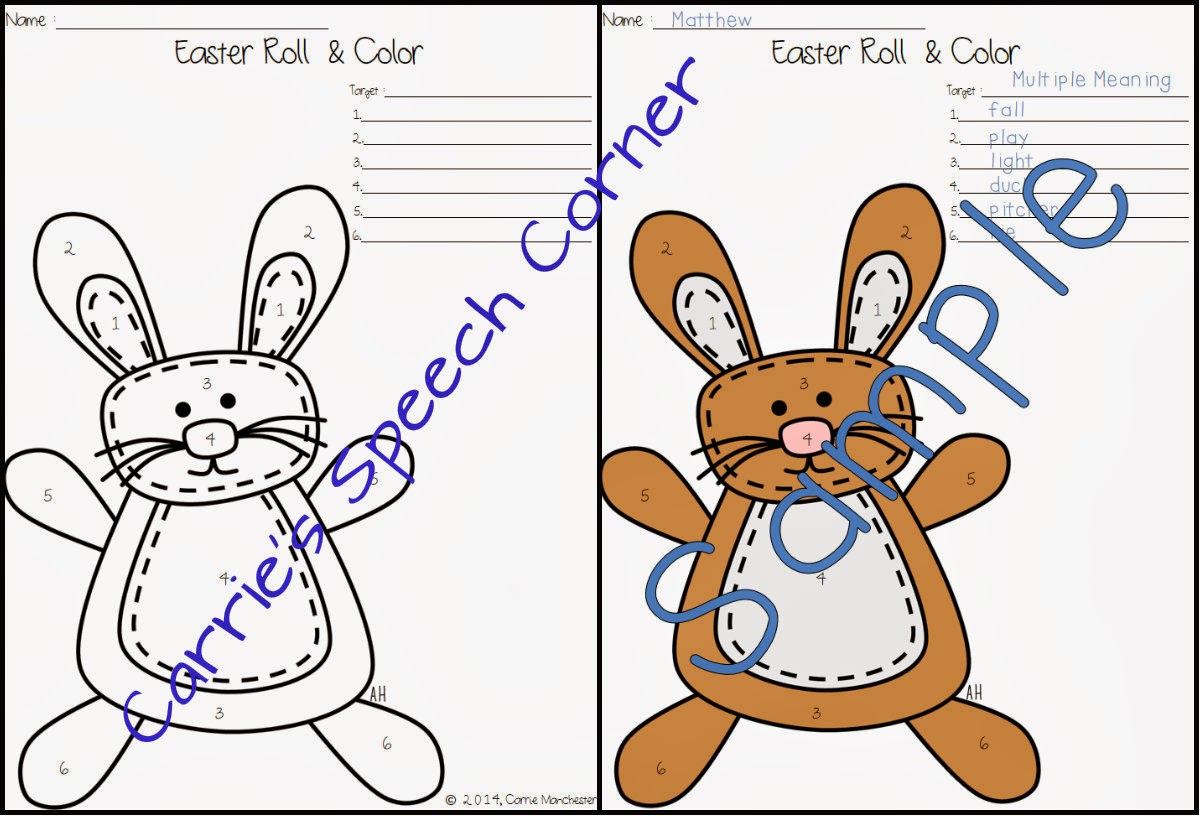Speechie Freebies Easter Roll Amp Colors