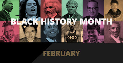 "Graphic shows prominent black american figures. ""February"""
