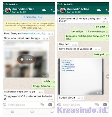 Tangga Trap Besi kombinasi Kayu Kamper pesanan Bu Nadia di Kelapa Gading Jakarta Utara