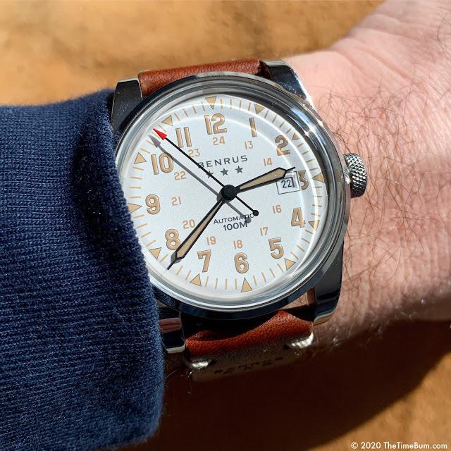 Benrus Heritage Field Watch white wrist shot