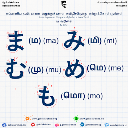 Japanese Hiragana M - Line Consonants with Stroke Order | learn Japanese hiragana alphabets from Tamil - Hiragana Letters Part 7