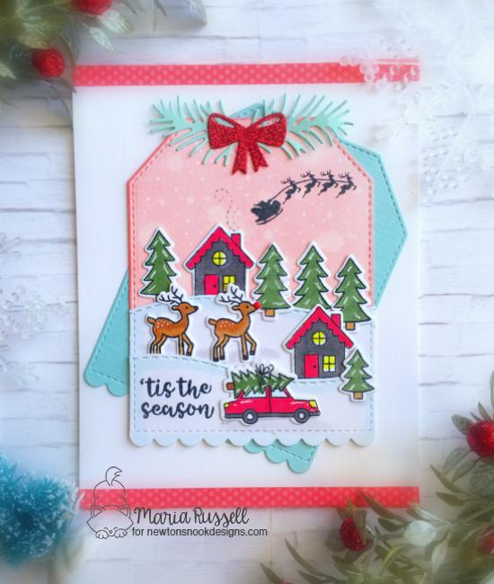 Snow Scene Christmas Card by Maria Russell | Snow Globe Scenes Stamp Set by Newton's Nook Designs #newtonsnook