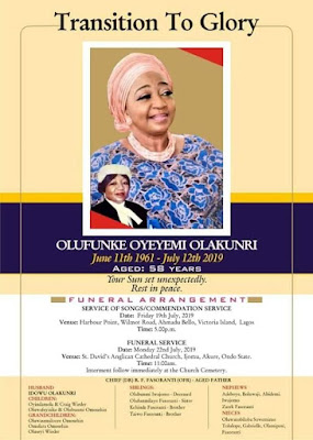 Family Releases Burial Programme For Murdered Daughter Of Chief Rueben Fasoranti