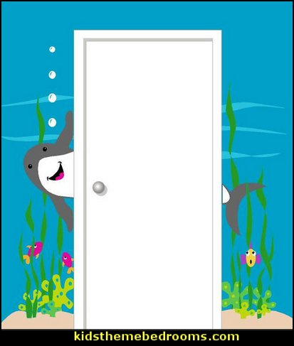 Shark Doorhugger Wall Mural, Paint by Numbers   Shark Bedrooms - shark murals - shark bedding  - Shark Decor - shark wall decals - shark theme bedroom decorating ideas - surf shack bedrooms - nautical bedrooms - 3d shark wall decorations - surfing theme bedrooms  - shark gifts - shark wall sculptures -  shark blankets - shark slippers