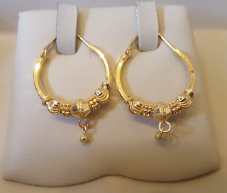 Gold earrings designs with weight 22 kt gold