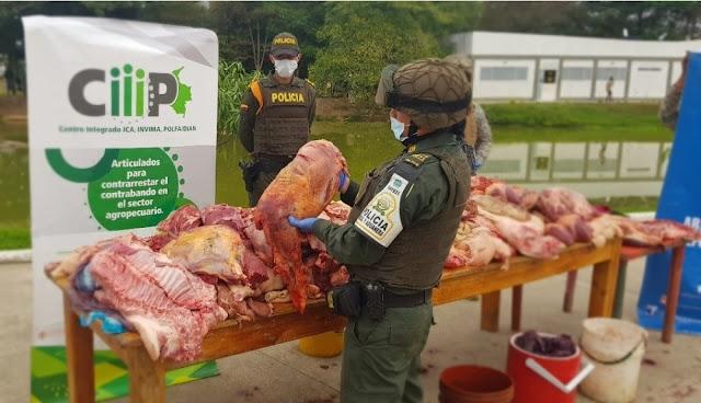 FRONTERA: Incautaron en Arauca-Colombia 464 kilos de carne proveniente de Venezuela.