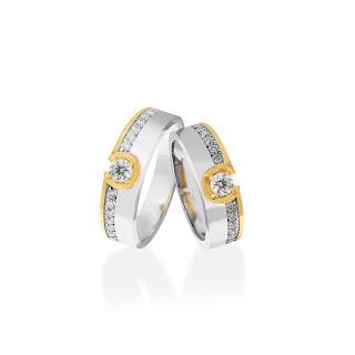 Nhẫn đôi kim cương sang trọng, đẳng cấp