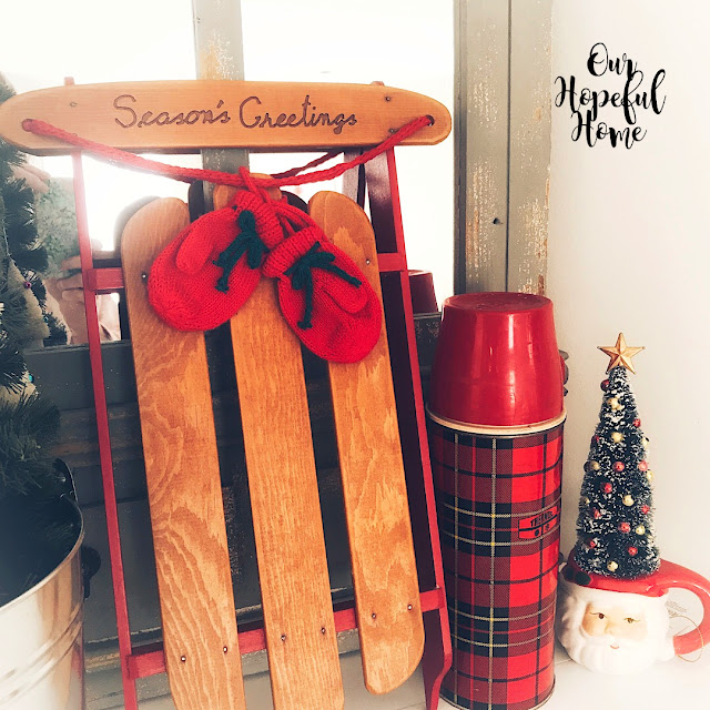 seasons greetings mini sled christmas decor red plaid thermos santa mug