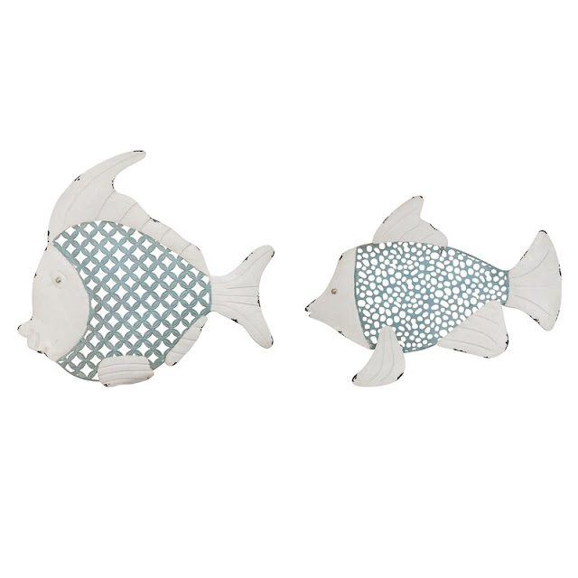 2 Piece Metal Fish Wall Decor Set
