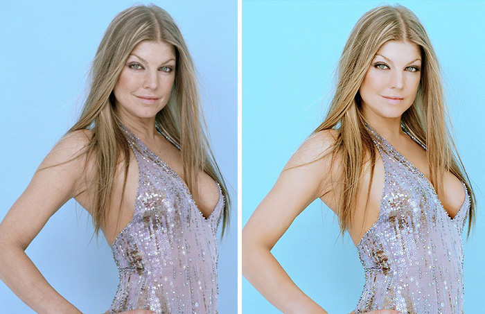 20 Before & After Images Of Celebs Reveal Society's Unrealistic Standards Of Beauty - Fergie