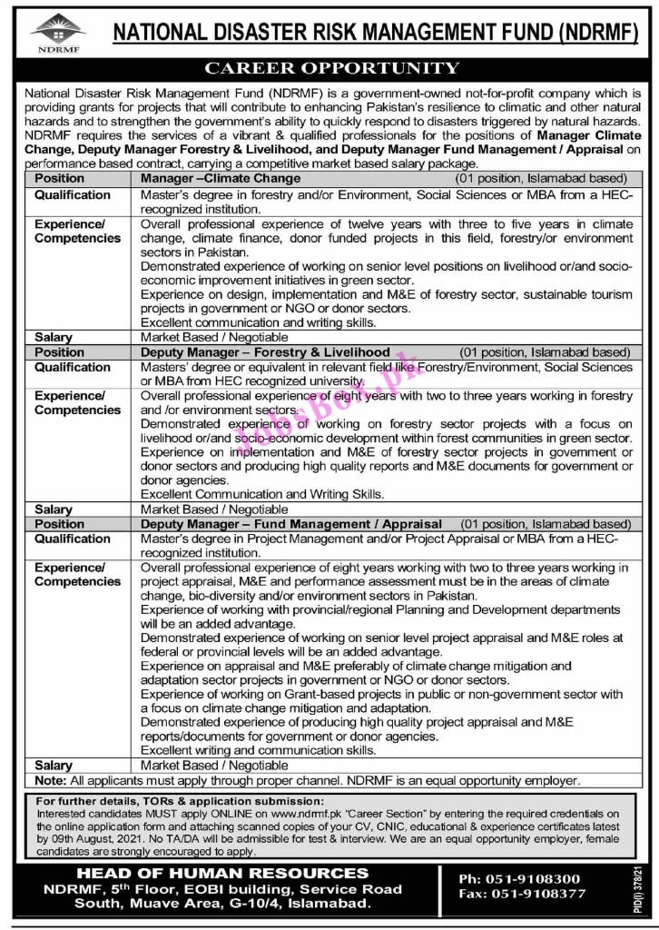 National Disaster Risk Management Fund NDRMF Jobs 2021 – Apply Online