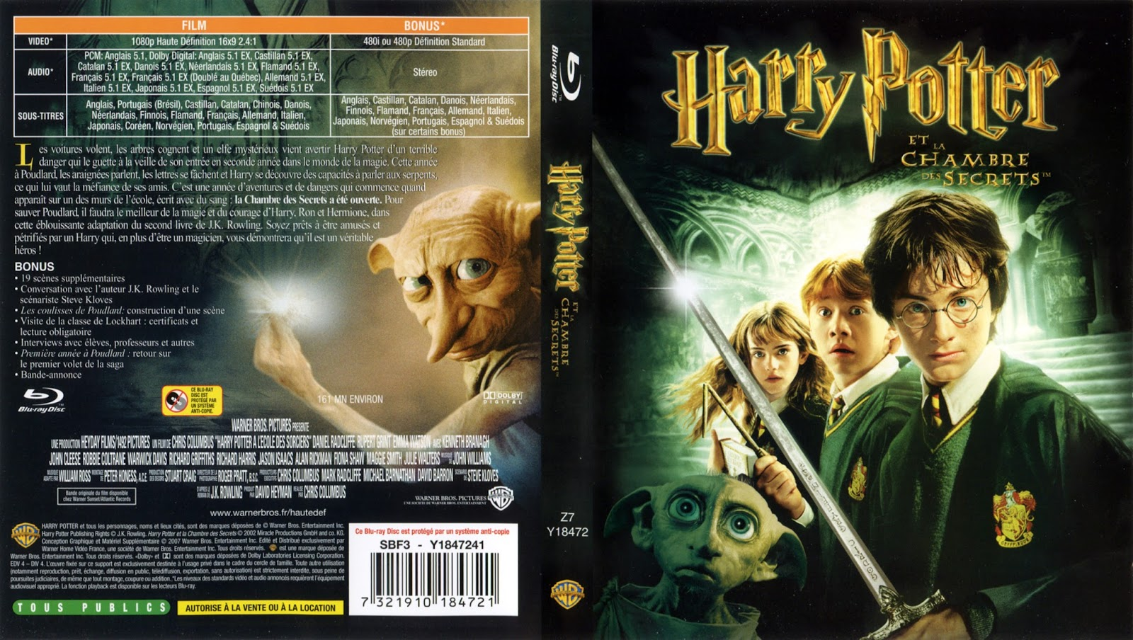 Blu ray jaquettes blu ray harry potter et la chambre des - Harry potter et la chambre des secret ...