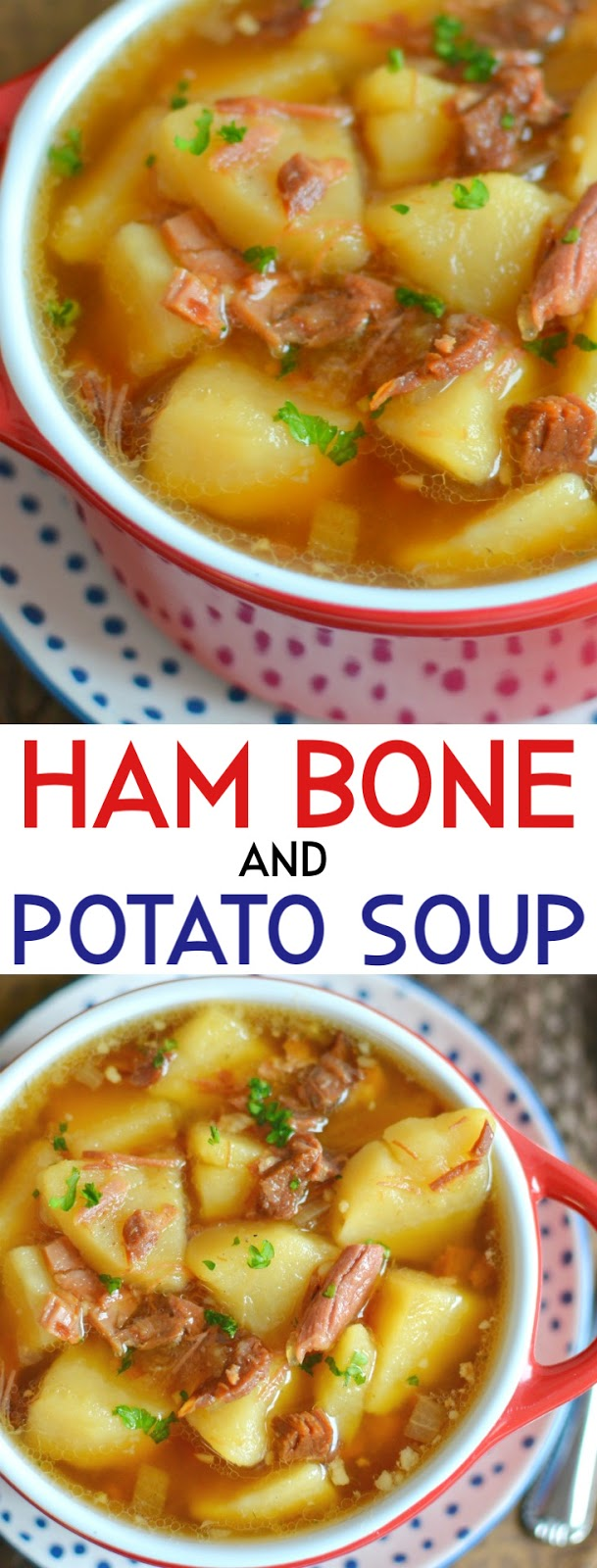 This homemade soup is easy and delicious! It's a great way to use ham leftovers from Thanksgiving, Christmas or Easter and it will warm you up on a cold fall or winter day! Simple ingredients made into pure comfort food!