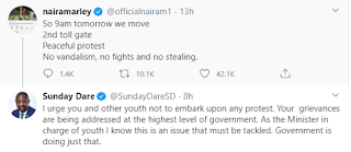 #EndSARS: Shelve The Protest As SARS Brutality Are Currently Being Addressed - Minister Of Youths, Sunday Dare Tells Naira Marley