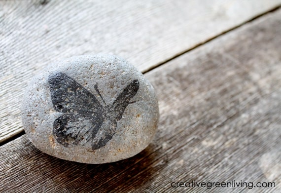 Rock stamped with a butterfly