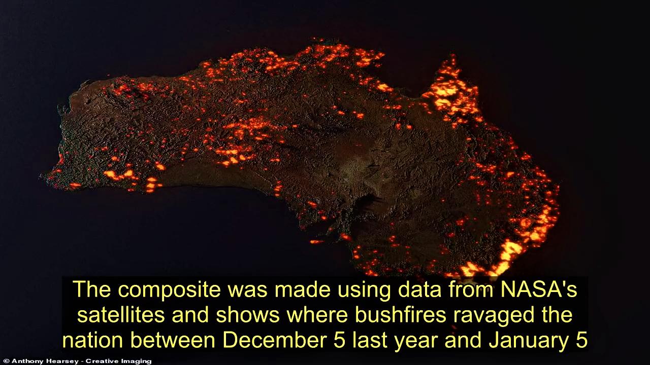 Image shows the true scale of bushfires across Australia.