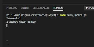 menggunakan update mysql database node-js