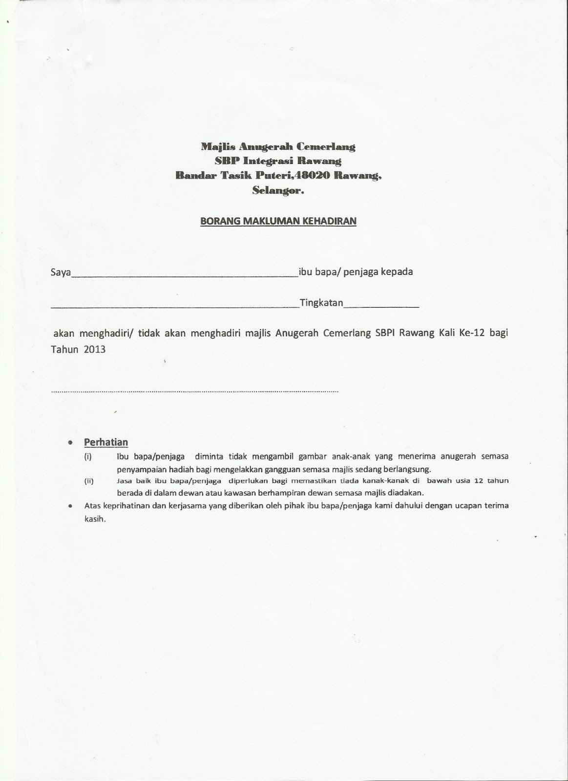 Borang Jawapan In English - Kronis f
