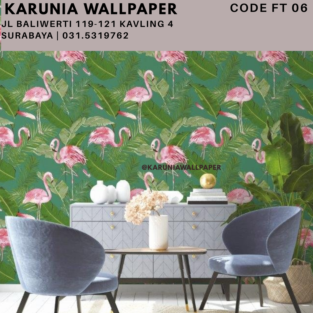 jual wallpaper dinding flamingo