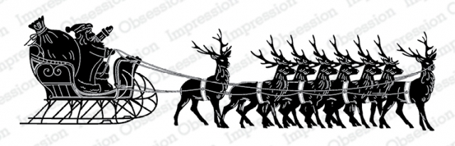 Santa with Sleigh slimline stamp from Impression Obsession Stamps