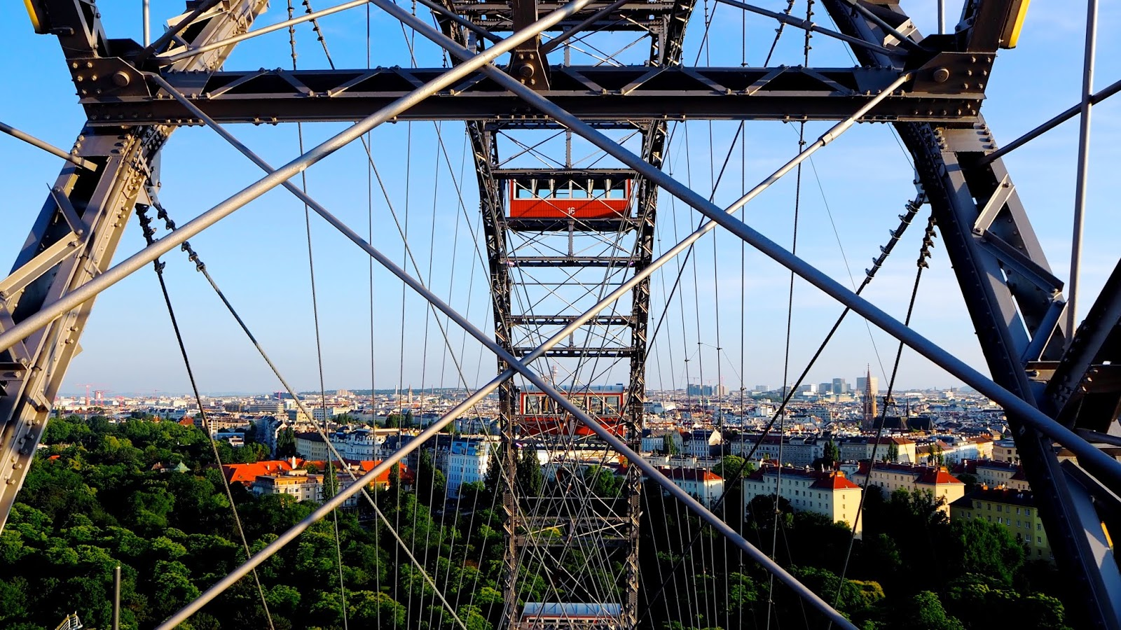 View from the top of the Riesenrad Ferris Wheel in Vienna