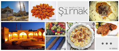 Şırnak'ın meşhur şeylerini gösteren resimlerden oluşan kolaj
