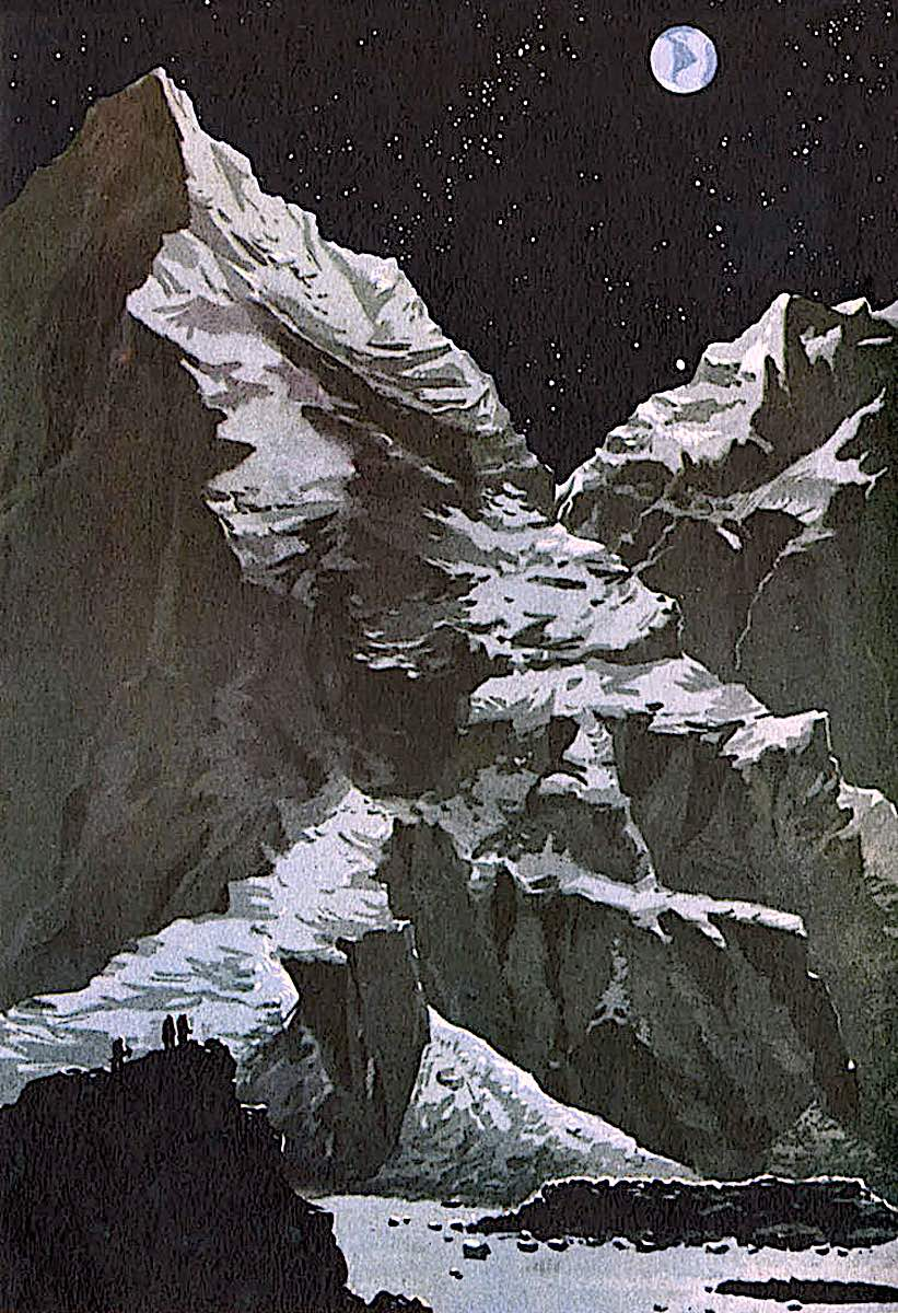 a Jack Coggins illustration of men on the moon with mountains