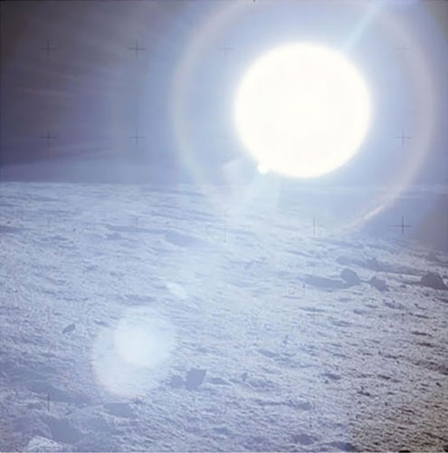Sun, photographed from lunar surface is white, not yellow (Source: NASA Apollo 12)