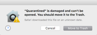 Dialog that offers users to move an app to the Trash if it Gatekeeper believes the application was tempered with