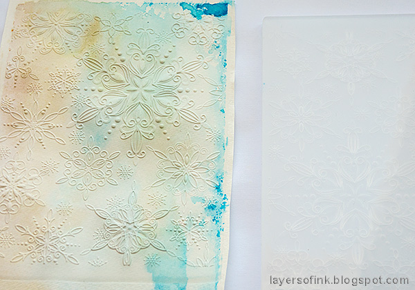 Layers of ink - Textured Snowflake Card Tutorial by Anna-Karin Evaldsson.  Emboss in the Filigree Snowflake folder.