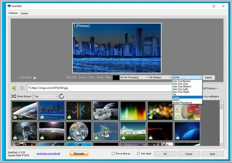 MultiWall :  Δωρεάν εφαρμογή για τη ρύθμιση  εικόνας φόντου στη επιφάνειας εργασίας
