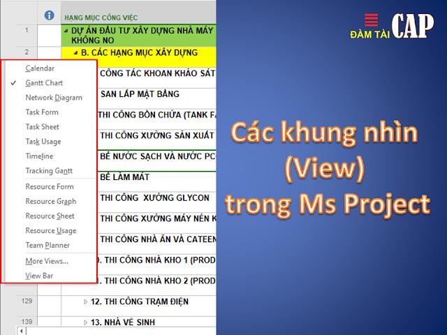 Các khung nhìn (View) trong Ms Project