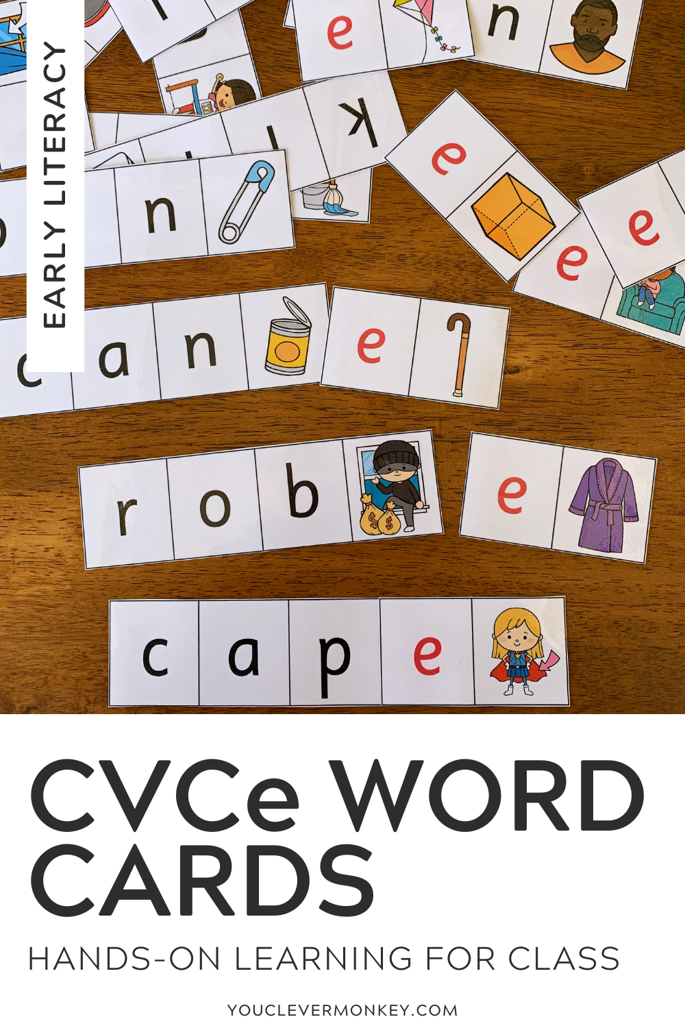 CVC to CVCe Word Cards - Learning the different vowel sounds can be challenging for many young learners. These CVC to CVCe Word cards provide helpful visual support for children struggling with the change in vowel sounds from short to long to create CVCe words from CVC words.  Starting with a CVC word card (three-letter word plus picture), children are then asked to add the 'e' sound changing the vowel from a short sound (/a/ like in c/a/t) to word with a long sound (/a/ like in c/a/k/e). Answer cards and recording sheets have been included to allow children to work independently | you clever monkey