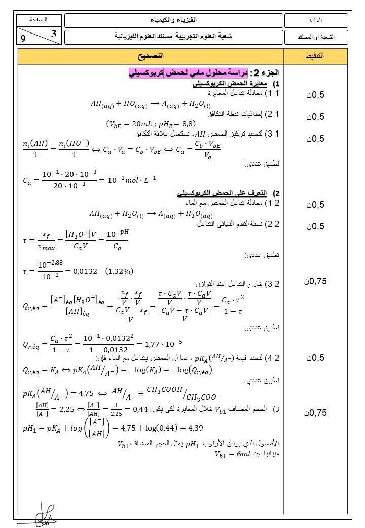 اجابة  الامتحان الوطني 2021 مادة الفيزياء و الكيمياء