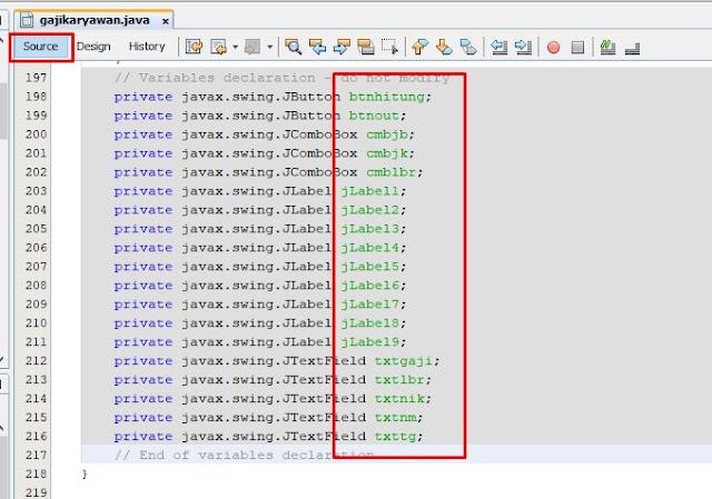script menghitung gaji karyawan di java netbeans