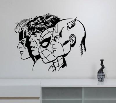 Gambar Mural Superhero
