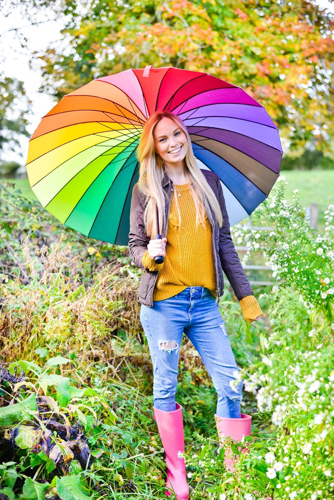 rainbow umbrella, Wonderwelly, wonder wellies, pink wellies, mindfulness outsides, outside wellbeing, outdoors wellbeing