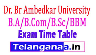 BRAU UG B.A/B.Com/B.Sc/BBM Exam Time Table 2017