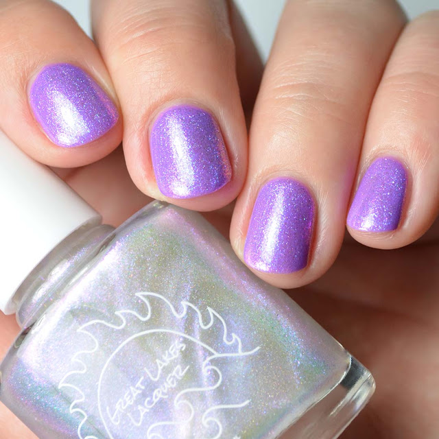 blue shimmer nail polish topper
