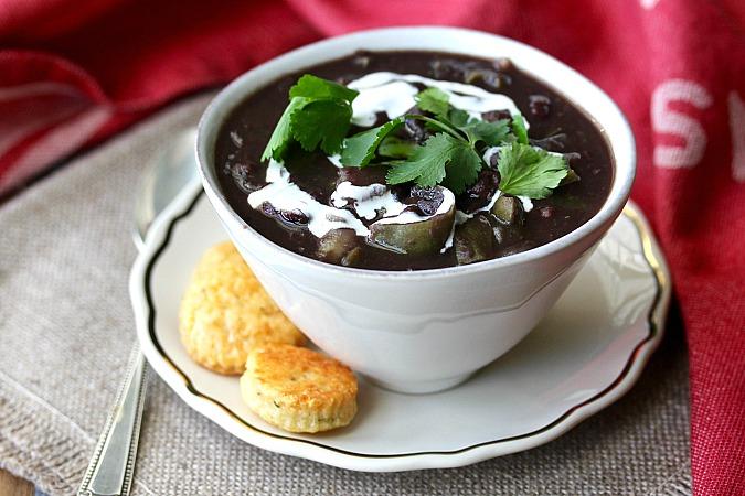 Cuban-Style Black Bean Soup with a crema swirl